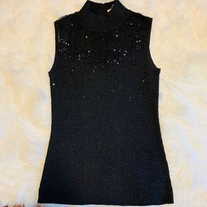 Black Sleeveless Beaded DressBarn Top - M
